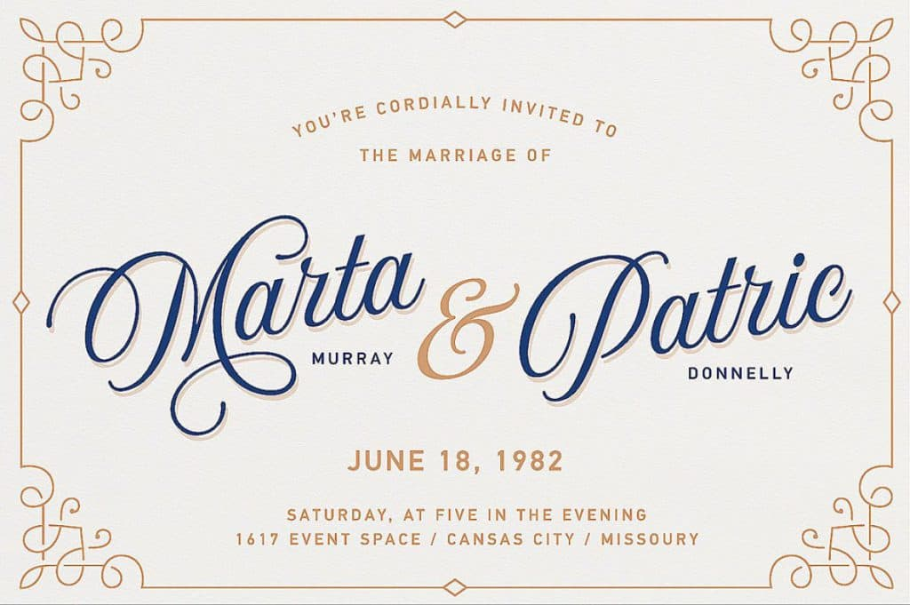 Aurora Script by Andrey Sharonov Wedding invite