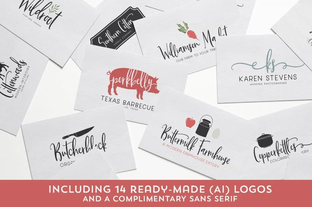 Buttermilk Farmhouse Typeface Logos