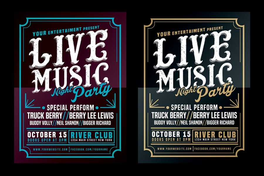 Live Music Typography Poster Flyer 1